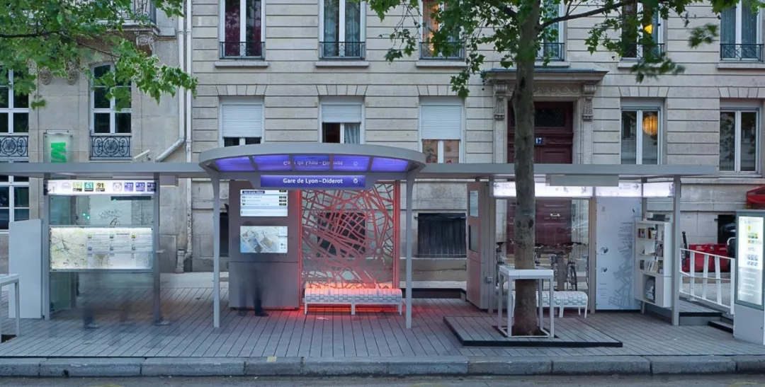 interactive outdoor bus stop
